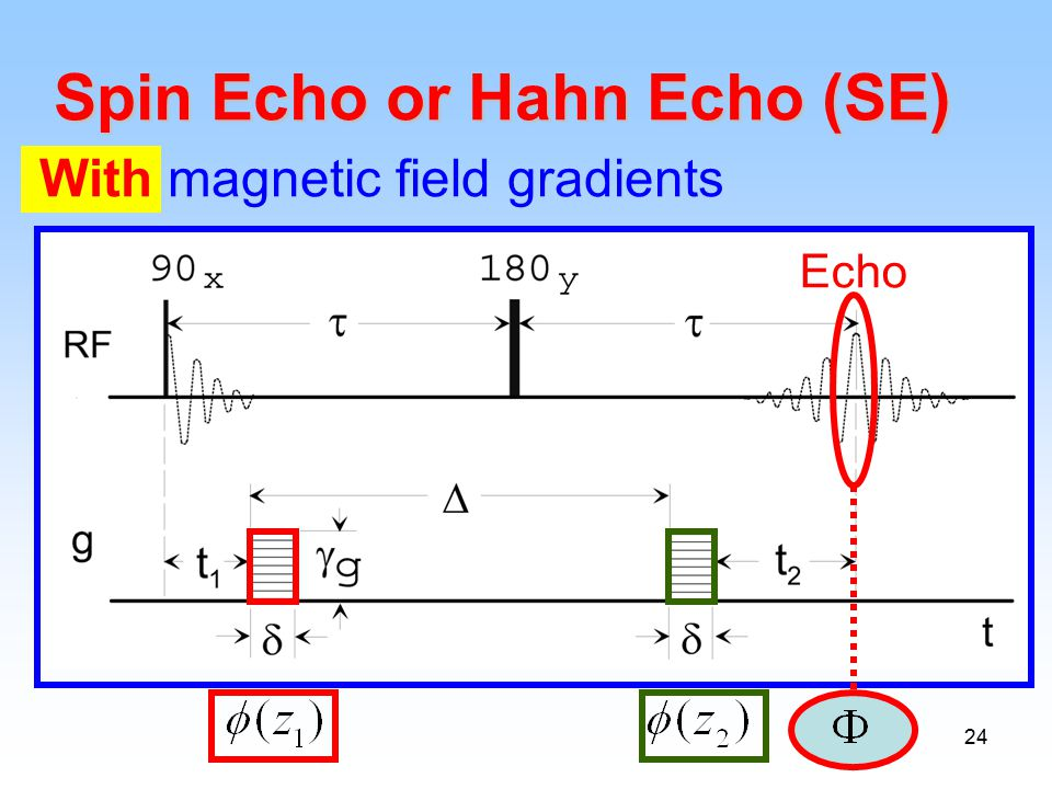 24 Spin Echo or Hahn Echo (SE) With magnetic field gradients Echo