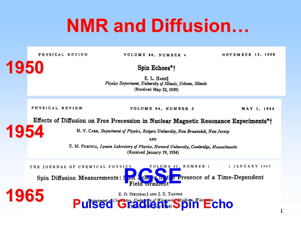 4 NMR and Diffusion… 1950 1954 PGSE Pulsed Gradient Spin Echo 1965