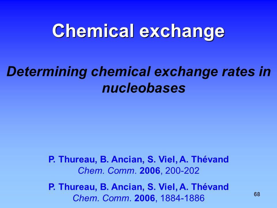 68 Chemical exchange Determining chemical exchange rates in nucleobases P.