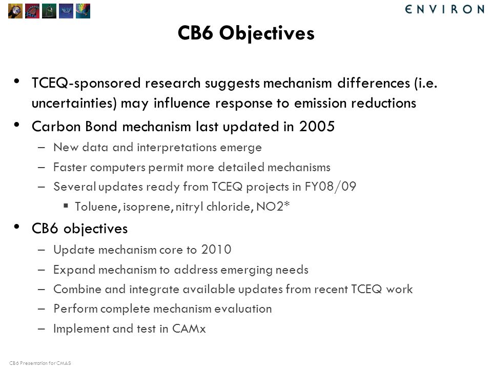 CB6 Presentation for CMAS Chamber Simulation Results: Results for TOL 20 TOL – NOx experiments (18 with toluene and 2 with ethyl benzene) Performance metrics were used to quantify mechanism performance.