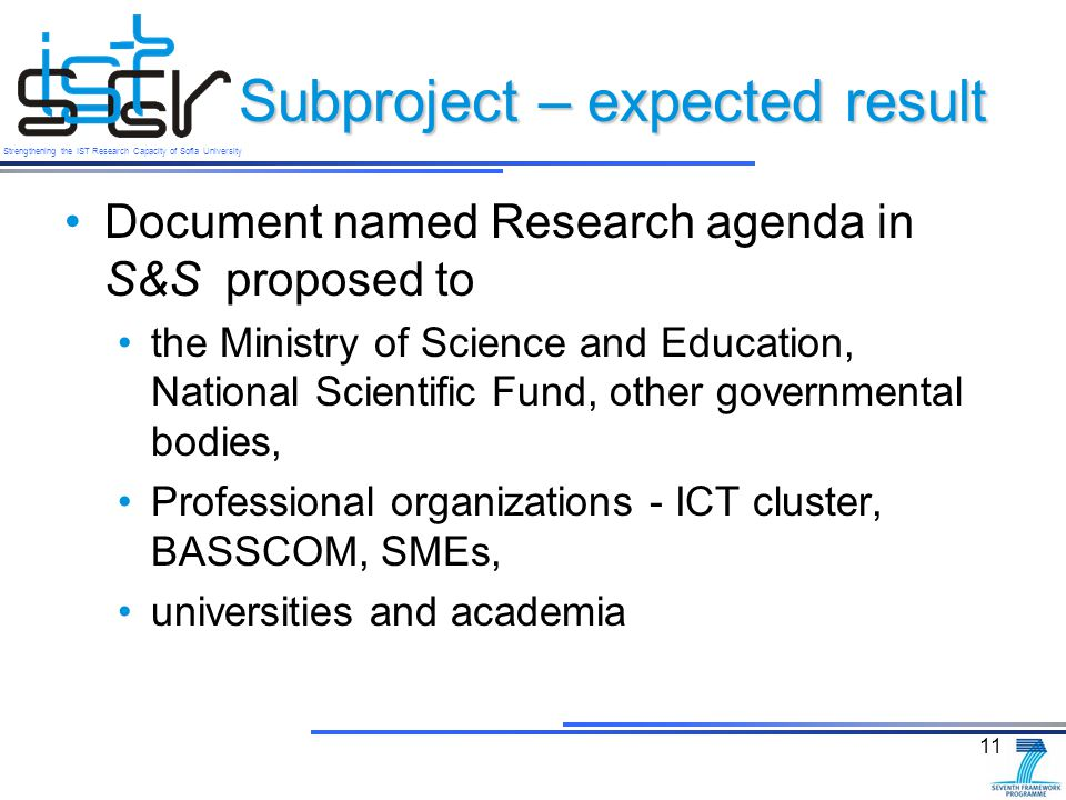 Strengthening the IST Research Capacity of Sofia University Subproject – expected result Document named Research agenda in S&S proposed to the Ministry of Science and Education, National Scientific Fund, other governmental bodies, Professional organizations - ICT cluster, BASSCOM, SMEs, universities and academia 11