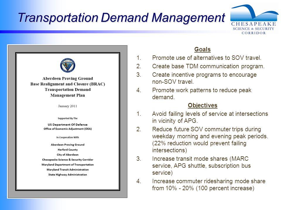 Transportation Demand Management Goals 1.Promote use of alternatives to SOV travel.