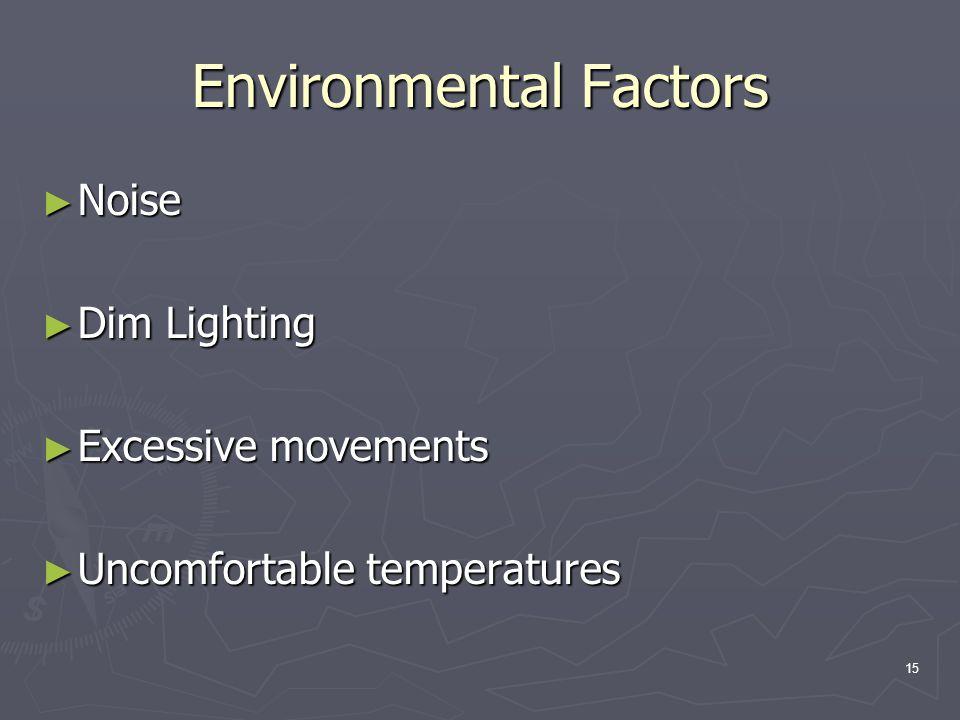 15 Environmental Factors ► Noise ► Dim Lighting ► Excessive movements ► Uncomfortable temperatures