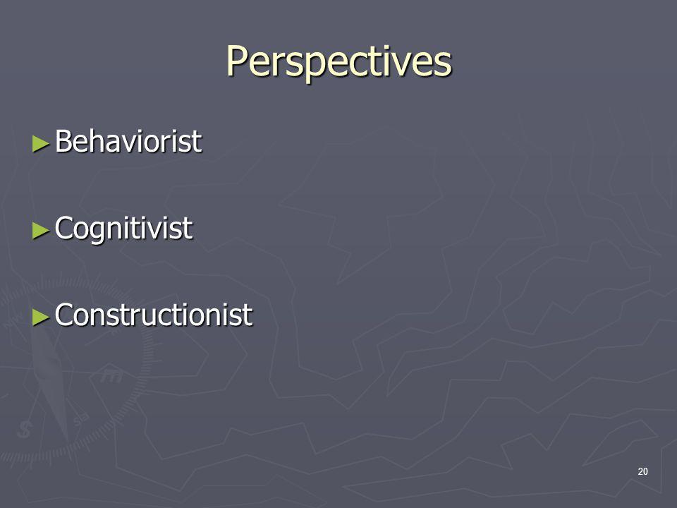 20 Perspectives ► Behaviorist ► Cognitivist ► Constructionist