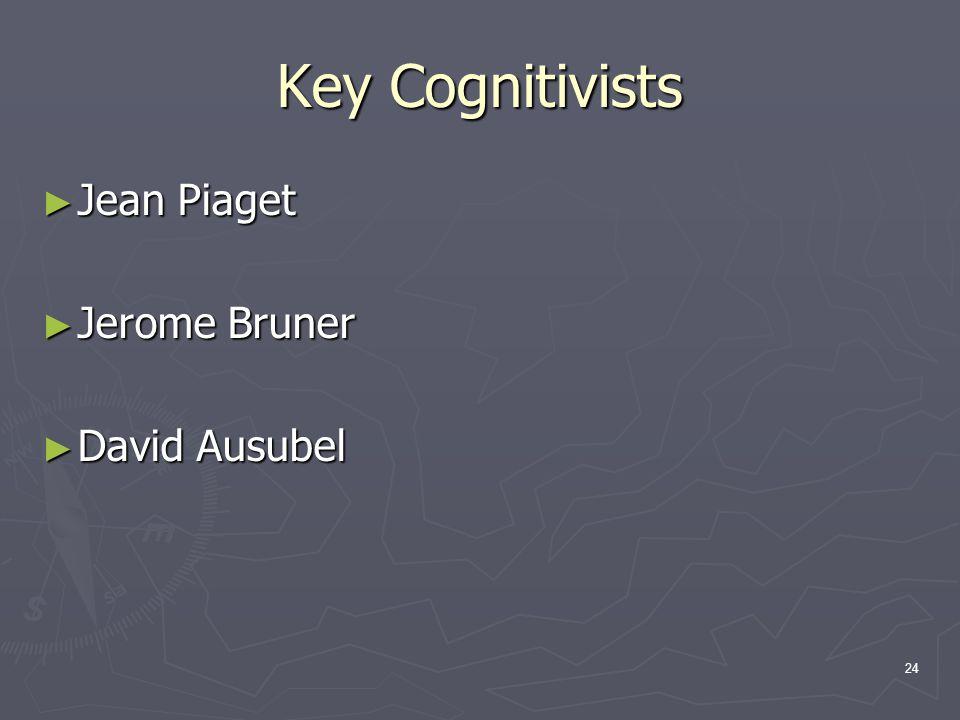 24 Key Cognitivists ► Jean Piaget ► Jerome Bruner ► David Ausubel