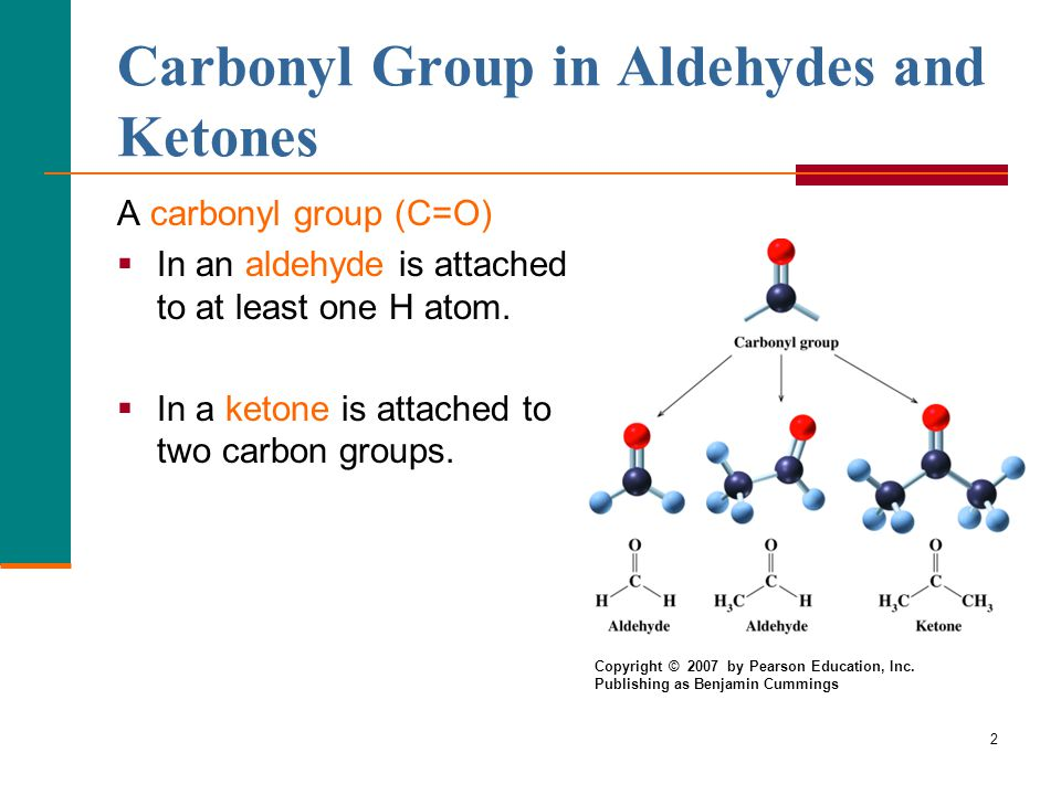 2 Carbonyl Group in Aldehydes and Ketones A carbonyl group (C=O)  In an aldehyde is attached to at least one H atom.
