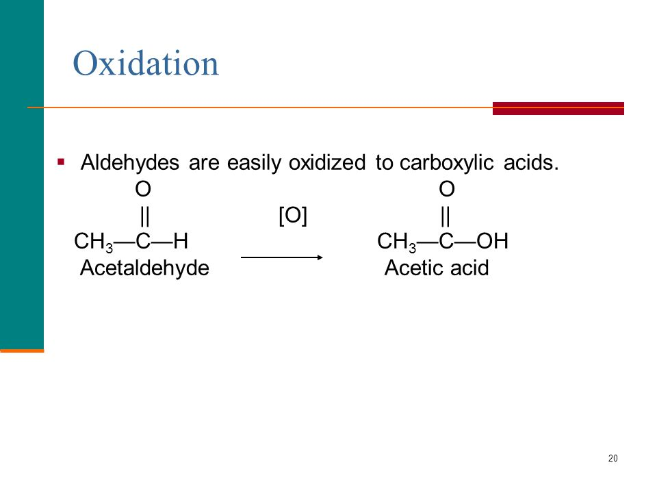 20 Oxidation  Aldehydes are easily oxidized to carboxylic acids.
