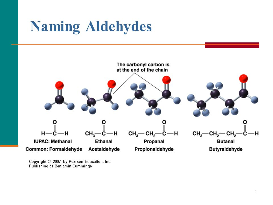 4 Naming Aldehydes Copyright © 2007 by Pearson Education, Inc. Publishing as Benjamin Cummings