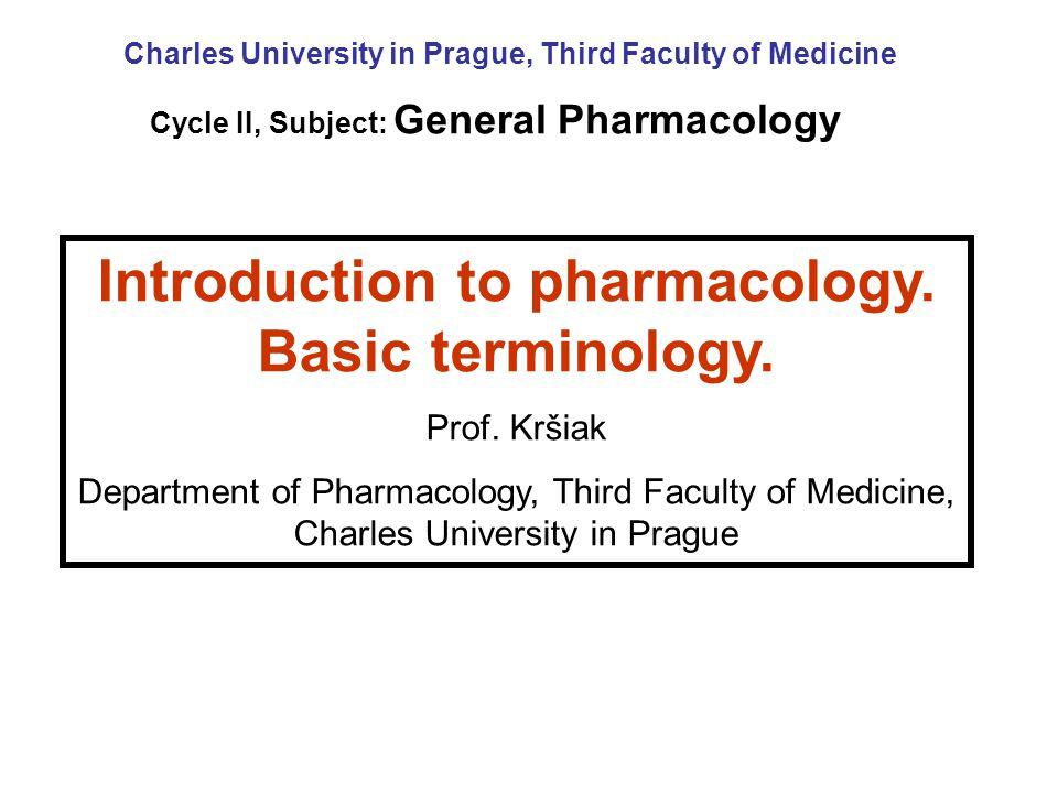 Introduction to pharmacology.Basic terminology. Prof.
