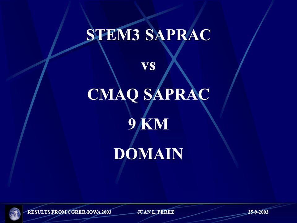 RESULTS FROM CGRER-IOWA 2003 JUAN L. PEREZ 25-9-2003 STEM3 SAPRAC vs CMAQ SAPRAC 9 KM DOMAIN