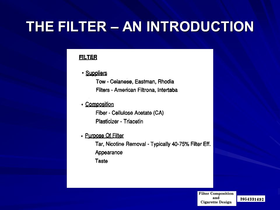 THE FILTER – AN INTRODUCTION