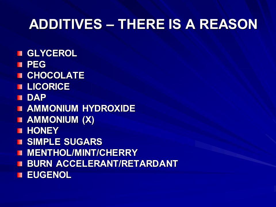 ADDITIVES – THERE IS A REASON GLYCEROLPEGCHOCOLATELICORICEDAP AMMONIUM HYDROXIDE AMMONIUM (X) HONEY SIMPLE SUGARS MENTHOL/MINT/CHERRY BURN ACCELERANT/RETARDANT EUGENOL