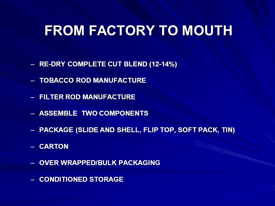 FROM FACTORY TO MOUTH –RE-DRY COMPLETE CUT BLEND (12-14%) –TOBACCO ROD MANUFACTURE –FILTER ROD MANUFACTURE –ASSEMBLE TWO COMPONENTS –PACKAGE (SLIDE AND SHELL, FLIP TOP, SOFT PACK, TIN) –CARTON –OVER WRAPPED/BULK PACKAGING –CONDITIONED STORAGE