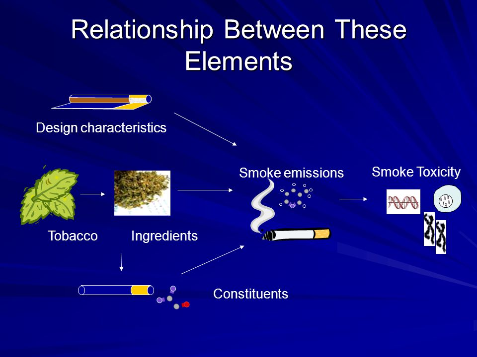 Relationship Between These Elements Constituents Design characteristics Smoke emissions IngredientsTobacco Smoke Toxicity