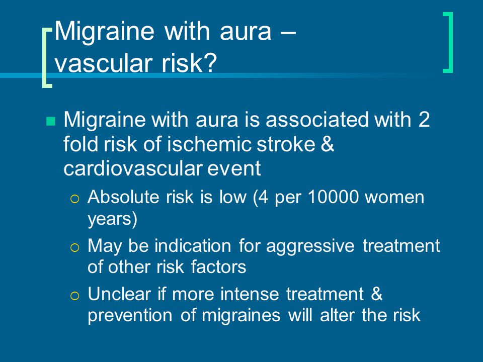 Migraine without aura – Criteria* At least 5 attacks (bunch of them) Lasting 4-72 hours untreated or unsuccessfully treated (didn't just go away quickly) Must have one of these to be migraine:  Nausea or vomiting  Photophobia  Phonophobia *International Headache Society - 2004