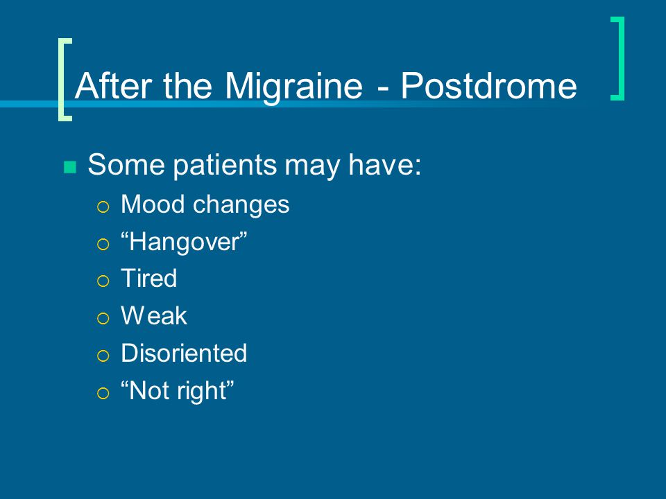 Chronic Migraine (CM) or Medication Overuse Headache (MOH) Chronic migraine previously called 'transformed migraine' Consider medication overuse if ≥ 2 days/week for > 3 months analgesic use Over period of time (months to years) can become almost daily headache  Resembles mixture of tension & migraine  Occasionally called 'tension-vascular'  Hint – if awaken with headache consider medication overuse