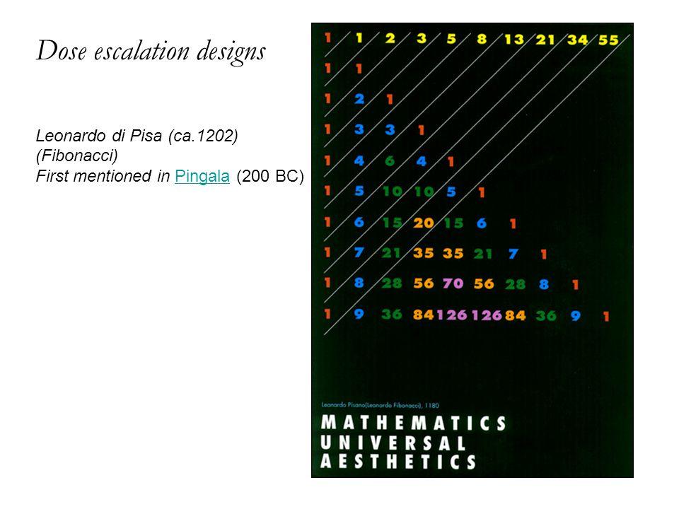 Dose escalation designs Leonardo di Pisa (ca.1202) (Fibonacci) First mentioned in Pingala (200 BC)Pingala