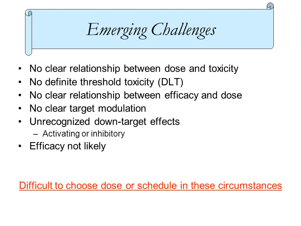 No clear relationship between dose and toxicity No definite threshold toxicity (DLT) No clear relationship between efficacy and dose No clear target modulation Unrecognized down-target effects –Activating or inhibitory Efficacy not likely Difficult to choose dose or schedule in these circumstances Emerging Challenges