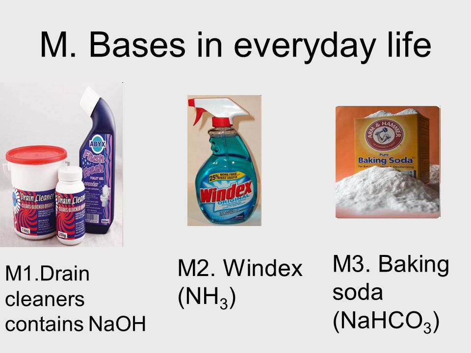 M. Bases in everyday life M1.Drain cleaners contains NaOH M2.