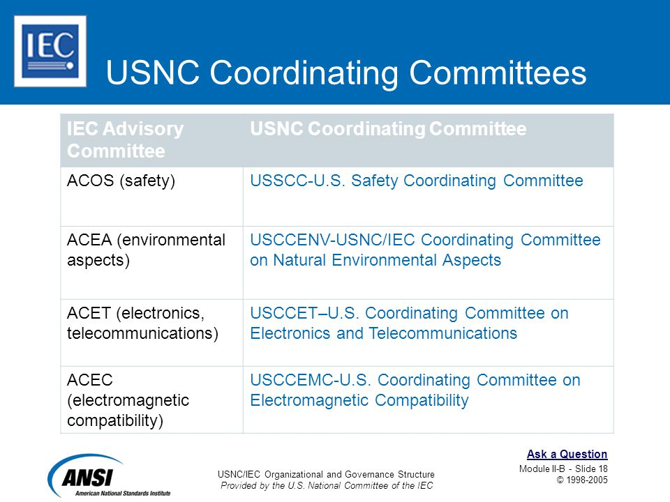 USNC/IEC Organizational and Governance Structure Provided by the U.S. National Committee of the IEC Module II-B - Slide 18 © 1998-2005 Ask a Question