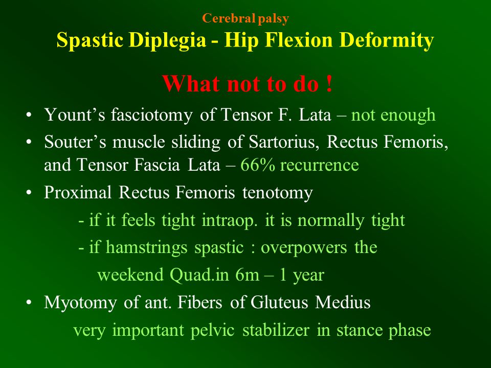 Cerebral palsy Spastic Diplegia - Hip Flexion Deformity What not to do ! Yount's fasciotomy of Tensor F. Lata – not enough Souter's muscle sliding of