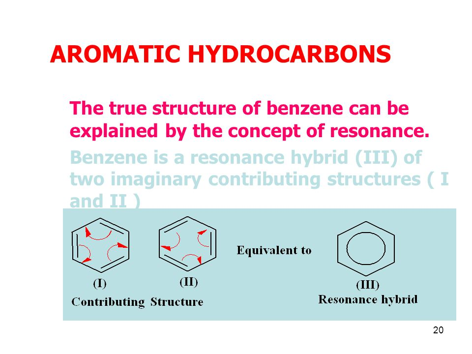 20 AROMATIC HYDROCARBONS The true structure of benzene can be explained by the concept of resonance.