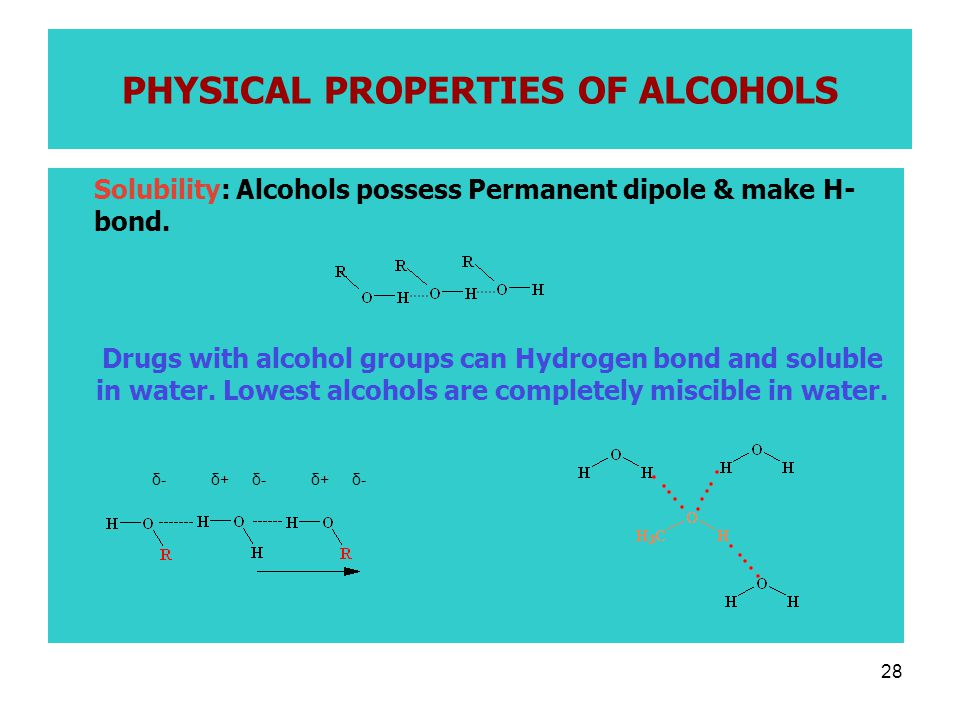 28 PHYSICAL PROPERTIES OF ALCOHOLS Solubility: Alcohols possess Permanent dipole & make H- bond.
