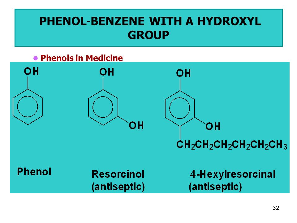 32 PHENOL-BENZENE WITH A HYDROXYL GROUP Phenols in Medicine