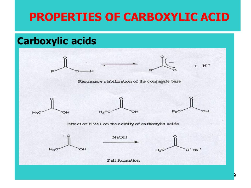 49 PROPERTIES OF CARBOXYLIC ACID Carboxylic acids