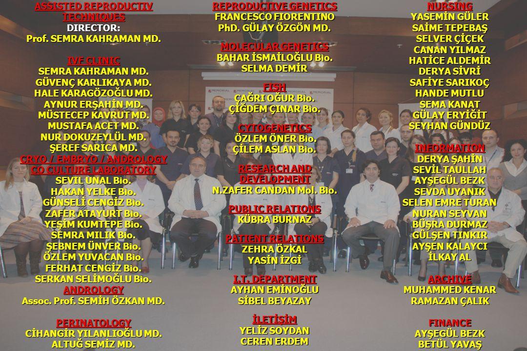 Son slayt olarak isimler ve toplu fotoğraf konabilir ASSISTED REPRODUCTIV TECHNIQUESDIRECTOR: Prof. SEMRA KAHRAMAN MD. IVF CLINIC SEMRA KAHRAMAN MD. G