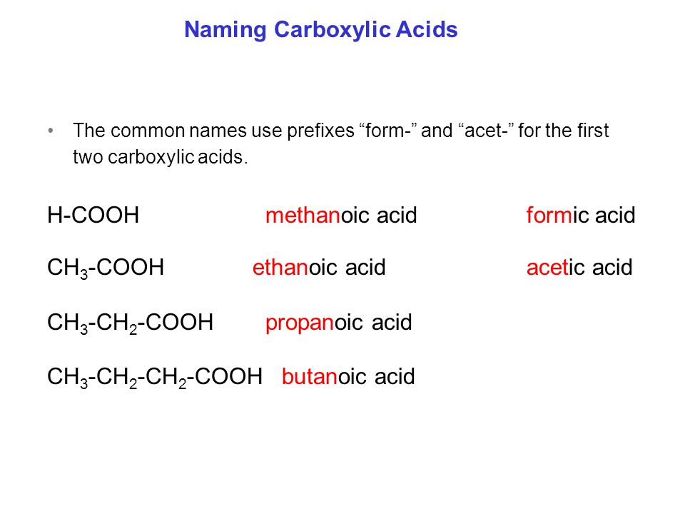The common names use prefixes form- and acet- for the first two carboxylic acids.