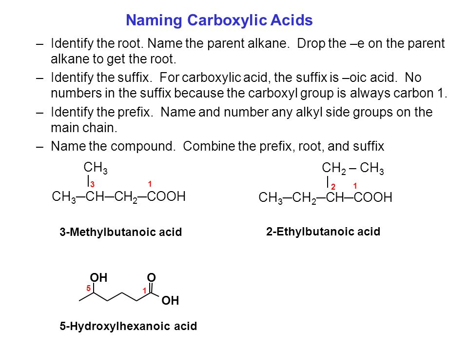 –Identify the root. Name the parent alkane. Drop the –e on the parent alkane to get the root. –Identify the suffix. For carboxylic acid, the suffix is