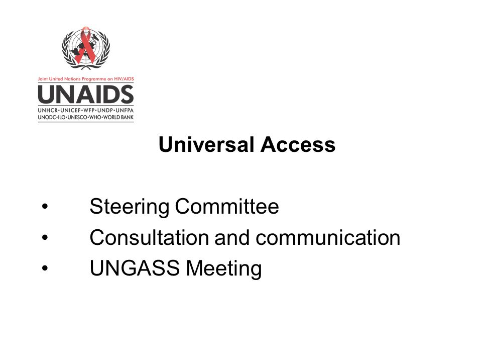 Universal Access Steering Committee Consultation and communication UNGASS Meeting