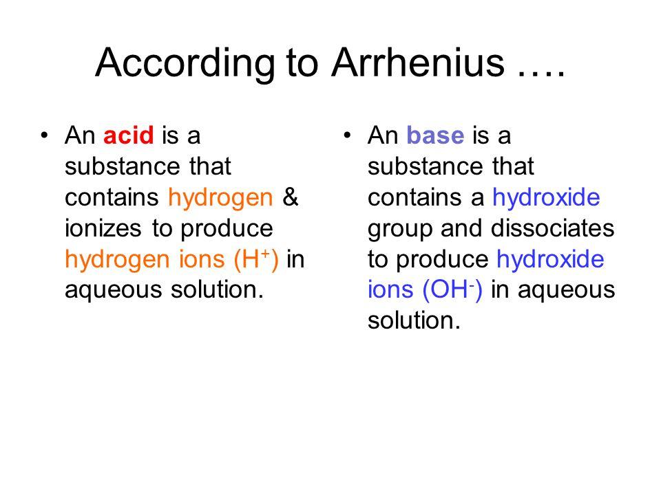 According to Arrhenius ….