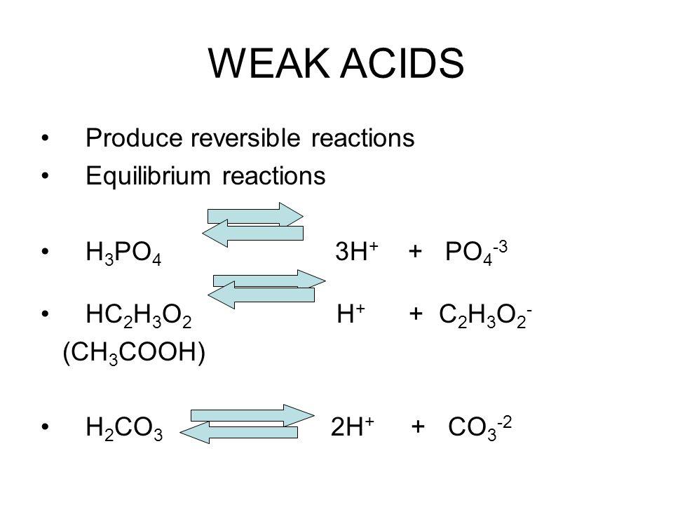 WEAK ACIDS Produce reversible reactions Equilibrium reactions H 3 PO 4 3H + + PO 4 -3 HC 2 H 3 O 2 H + + C 2 H 3 O 2 - (CH 3 COOH) H 2 CO 3 2H + + CO 3 -2