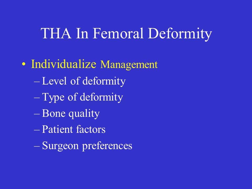 THA In Femoral Deformity Location of Deformity –Greater Trochanter –Femoral Neck –Metaphysis –Metaphyseal-Diaphyseal –Diaphysis –Distal to Diaphysis