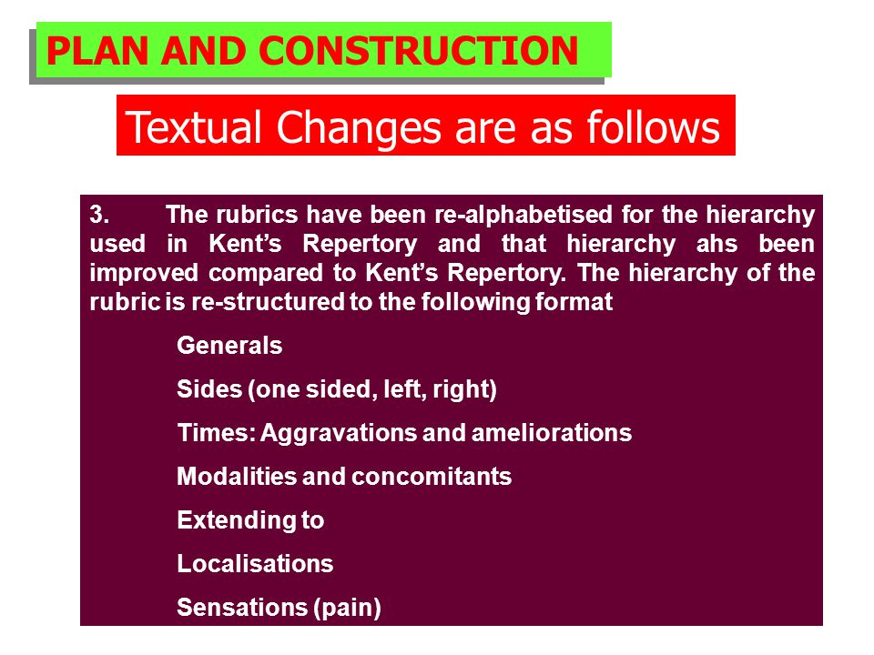 PLAN AND CONSTRUCTION Textual Changes are as follows 3.
