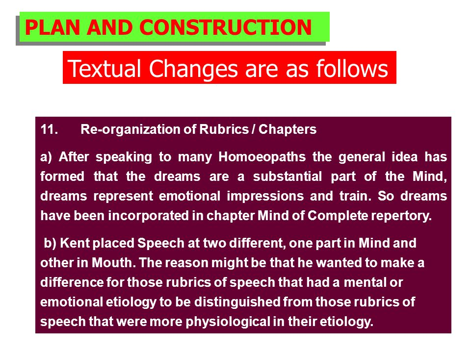 PLAN AND CONSTRUCTION Textual Changes are as follows 11.