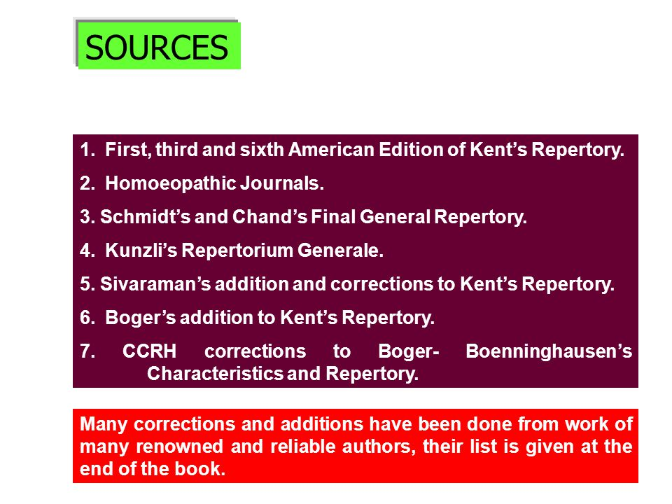SOURCES 1.First, third and sixth American Edition of Kent's Repertory.