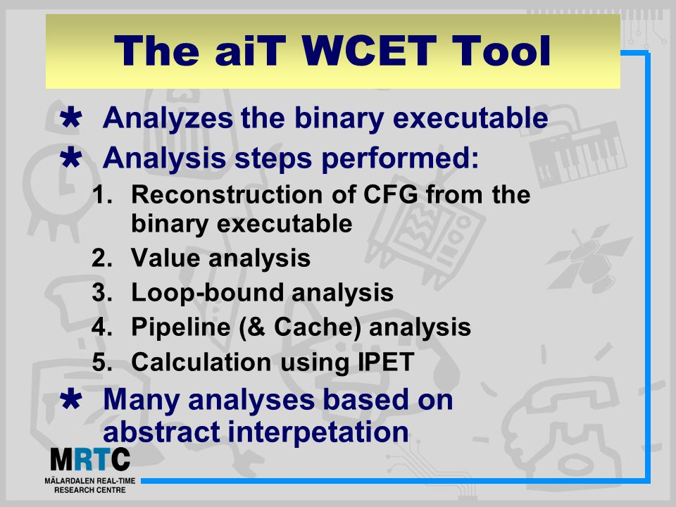 The aiT WCET Tool  Analyzes the binary executable  Analysis steps performed: 1.Reconstruction of CFG from the binary executable 2.Value analysis 3.Loop-bound analysis 4.Pipeline (& Cache) analysis 5.Calculation using IPET  Many analyses based on abstract interpetation
