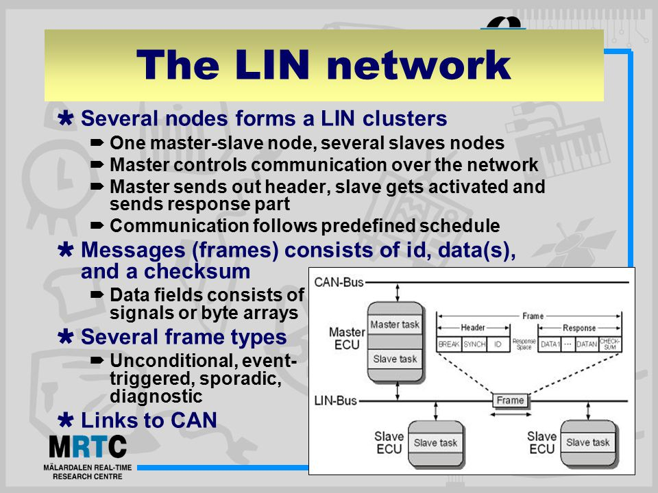 The LIN network  Several nodes forms a LIN clusters  One master-slave node, several slaves nodes  Master controls communication over the network  Master sends out header, slave gets activated and sends response part  Communication follows predefined schedule  Messages (frames) consists of id, data(s), and a checksum  Data fields consists of signals or byte arrays  Several frame types  Unconditional, event- triggered, sporadic, diagnostic  Links to CAN