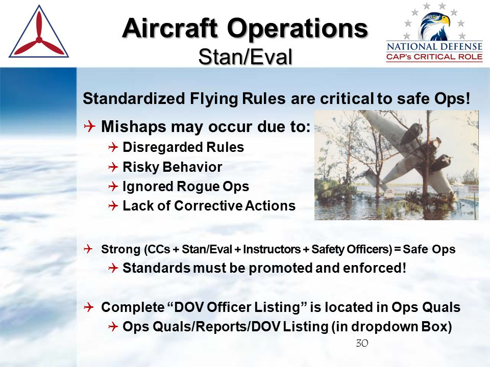 Standardized Flying Rules are critical to safe Ops.
