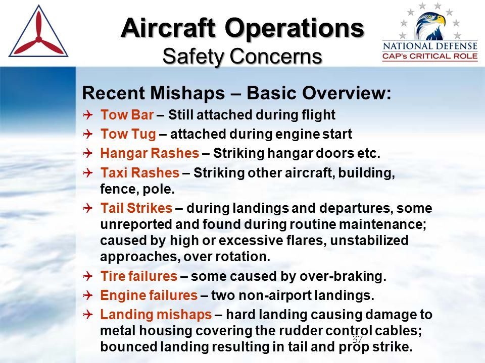 Recent Mishaps – Basic Overview:  Tow Bar – Still attached during flight  Tow Tug – attached during engine start  Hangar Rashes – Striking hangar doors etc.