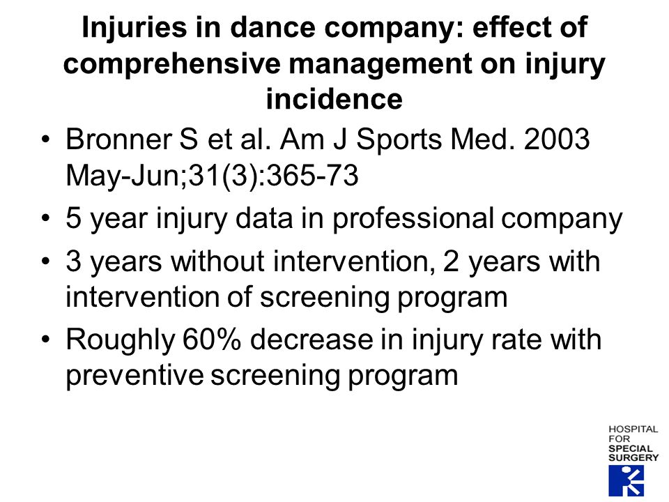 Injuries in dance company: effect of comprehensive management on injury incidence Bronner S et al.