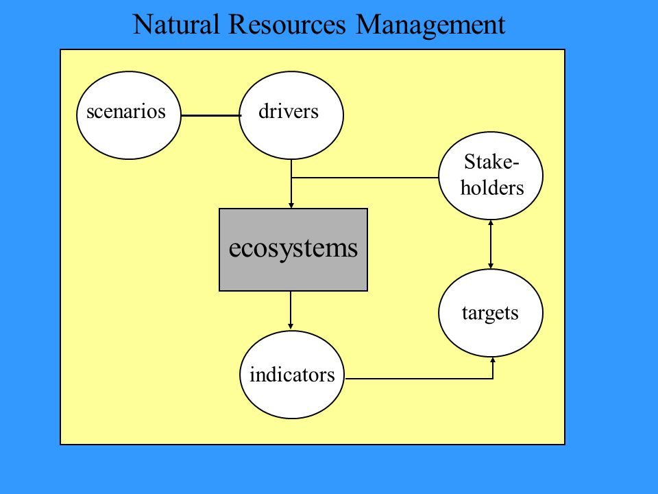 ecosystems indicators drivers Stake- holders targets Natural Resources Management scenarios