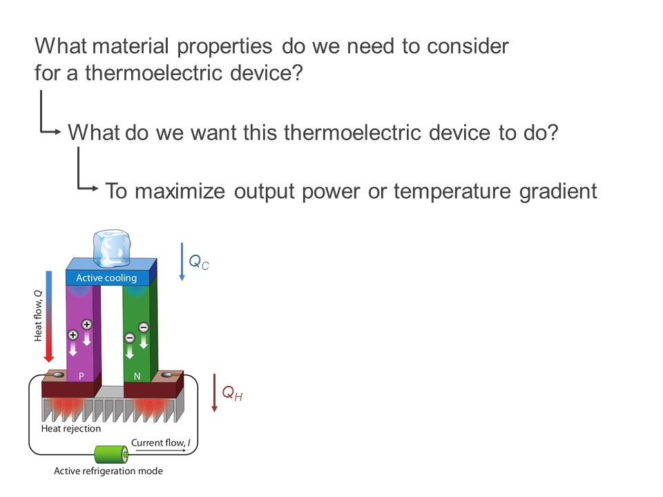 What material properties do we need to consider for a thermoelectric device? What do we want this thermoelectric device to do? To maximize output powe