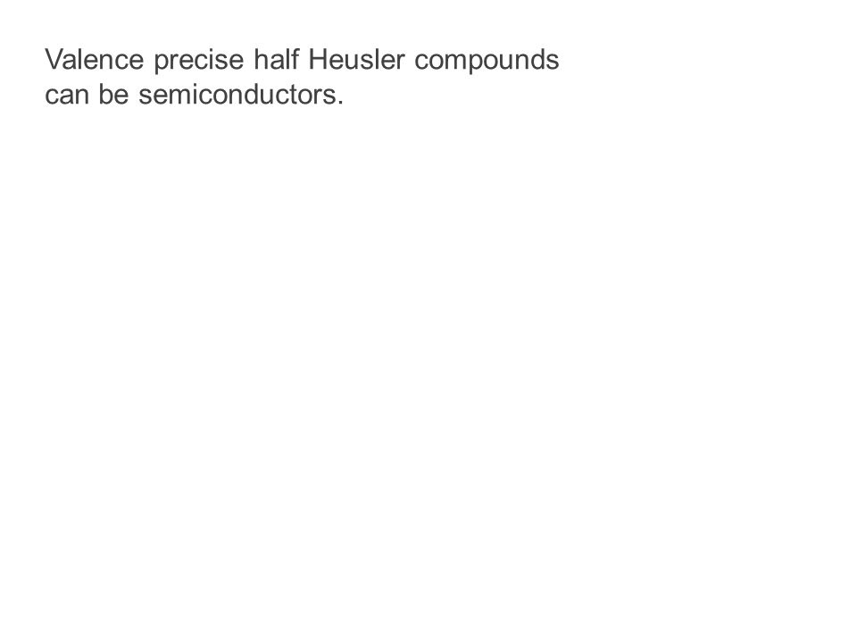 Valence precise half Heusler compounds can be semiconductors.