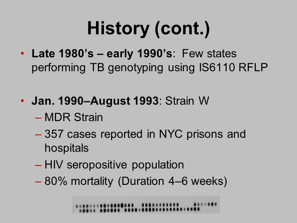 April 1996: CDC establishes the National Tuberculosis Genotyping and Surveillance Network (NTGSN) 1996—2000: NTGSN conducts population- based study to determine the frequency of specific strains geographically using IS6110 RFLP and Spoligotyping 2001: Results of study published