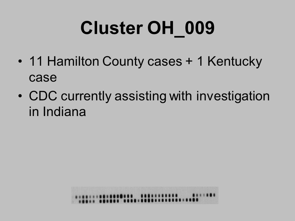 Cluster OH_009 11 Hamilton County cases + 1 Kentucky case CDC currently assisting with investigation in Indiana
