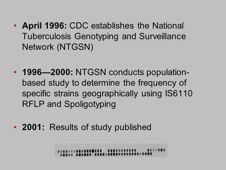 Use Genotype Results to Better Understand: spread of related strains in communities geographic mobility of related strains relatedness of strains in persons at high risk for tuberculosis capacity of local TB controllers to identify patients involved in outbreaks and to provide a database of DNA fingerprints for tuberculosis control activities